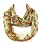 Soft Knit Chain Circle Loop Eternity Scarf Mulit- Olive
