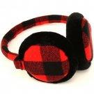 Winter Ski Fuzzy Earmuff Buffalo Plaid Adjustable Red