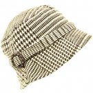 Wool Winter Houndstooth Plaid Bucket Foldable Hat Brown