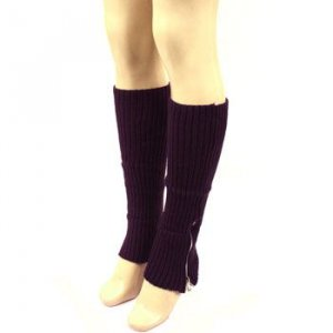 Winter Ski Ribbed Knit Leg Warmers Dancer Zipper Purple