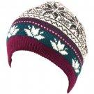 Snow Flake 2ply Knit Ski Beanie Skull Winter Hat Purple