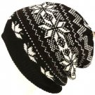 Snow Flake 2 ply Knit Ski Beanie Skull Winter Hat Black
