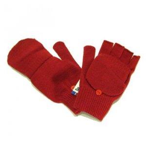 Winter Knit Flip Mitten Fingerless Gloves Glomitt Red