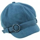 Crystal Newsboy Gatsby Cabby Adjustable Hat Turquoise