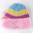PINK - HELLO KITTY GIRL'S KNIT HAT GLOVE SET FUZZY TRIM