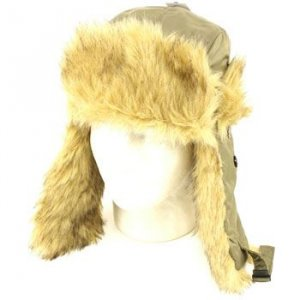 Faux Fur Winter Trapper Trapper Ski Hat Army Green L/XL