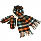 Softer than Cashmere? Scarf Gloves Set Plaid Turquoise