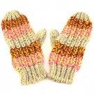 Winter Hand Knit Made Mitten Gloves Multicolor Beige
