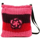 Crochet Flower Tri Knit Handbag Shoulder Body Bag Pink