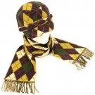 Argyle Plaid Cadet Hat Softer Cashmere Scarf Set Purple
