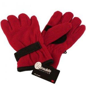 Winter Fleece Velcro Ski Thinsulate Gloves Red M/L
