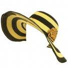 UPF 50+ Sun Beach Summer Hat Stripe Flower Floppy Black