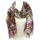 Paisley Floral Summer Frayed Long Scarf Shawl Purple