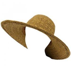 UPF 50+ Sun Beach Hat Light Woven Floppy Ribbon Brown