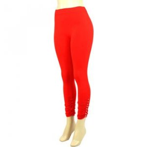 Thin Summer Full Leggings Stretchy Crystals Studded Red