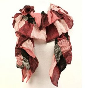 Mix Patch Crinkle Chunky Light Scarf Shawl Wrap Pink