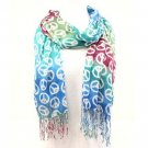 Peace Sign Summer Light Scarf Shawl Wrap Tricolor Blue
