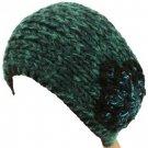 Handmade Shimmer Flower Knit Headwrap Headband Teal