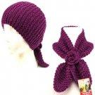 2 in1 Knit Headwrap & Neck warmer wrap Ski Scarf Purple