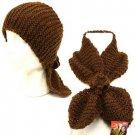 2 in 1 Knit Headwrap & Neck warmer wrap Ski Scarf Brown
