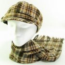 PLAID JUNIOR NEWSBOY CABBIE BUTTON HAT SCARF SET BROWN