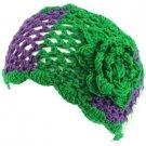Wide Knit Flower Crochet Headwrap Headband Tri- Green