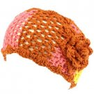 Wide Knit Flower Crochet Headwrap Headband Tri- Rust
