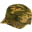 Summer Cotton Cyrstals Hot Fix Camo Cadet Hat Cap Olive
