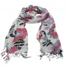 Soft Floral Print Summer Light Scarf Shawl Wrap White