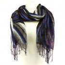 Colorful Zebra Print Summer Light Scarf Wrap Blue Purp
