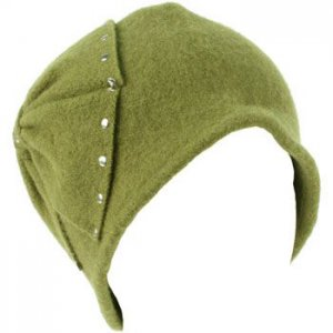 Wool Winter Cloche Crushable Foldable Bucket Big Studded Bow Church Hat Olive