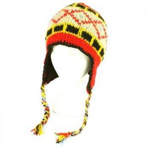 100% Wool Himalaya Nepal Hand Knit Tassel Handmade Trapper Trooper Lined Red