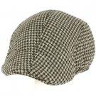 Men's Wool Blend Winter Duck Bill Ivy Cabby Driver Houndstooth Hat Cap Gray XL