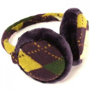 Winter Ski Argyle Earmuff Ear Warmer Adjustable Purple
