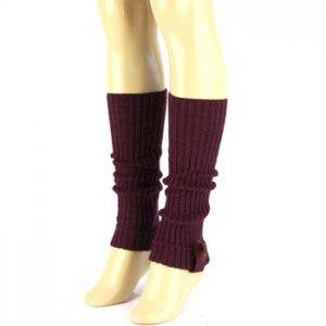 Winter Ski Ribbed Knit Real Fur Pom pom Matching Cuff Leg Warmers Dancer Purple