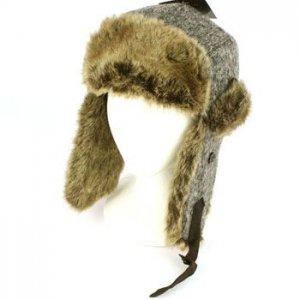 Winter Melange Knit Faux Fur Trooper Trapper Earflaps Ski Aviator Cap Hat Gray