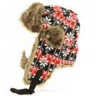 SnowFlake Faux Fake Fur Trooper Trapper Earflaps Ski Snow Aviator Cap Hat Red