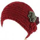Winter 3 Flower Adjustable Hand Knit Handmade Wide Headwrap Headband Ski Wine