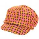 Wool Woven Weave Knit Newsboy Cabbie Cap Hat Orange