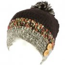 Handknit Handmade Winter Tight Knit Skull Button Ski Snow Beanie Pom Pom Black