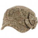 Elastafit Winter Floral Bow Crystals Knit Cadet Military Castro Hat Cap Brown