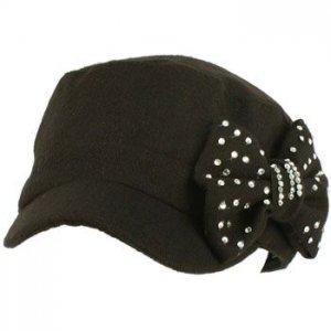 Elastafit Ladies Winter Ribbon Bow Crystals Cadet Military Castro Hat Cap Black