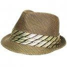 Woven Braid Necktie Band Fedora Trilby Hat Brown M/L