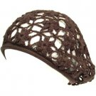 COTTON OPEN HAND KNIT CROCHET SLOUCHY BERET HAT BROWN