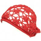 COTTON OPEN HAND KNIT CROCHET SLOUCHY BERET HAT RED