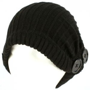 Winter Slouchy Ribbed Knit Beanie Button Ski Hat Black