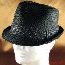 100%  RAFFIA STINGY BRIM FEDORA TRILBY  HAT BLACK L/XL