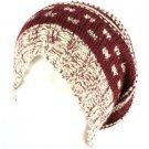 Winter Slouchy Knit Long Beanie Pompom Ski Hat Wine