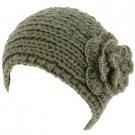 Hand Knit Headwrap Headband Chunky Flower Beaded Gray