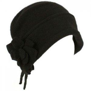 100% Wool Winter Cloche Crushable Foldable Bucket Flower Tassle Church Hat Black